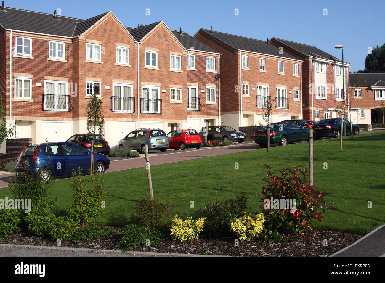 A modern housing estate in a u k city stock image