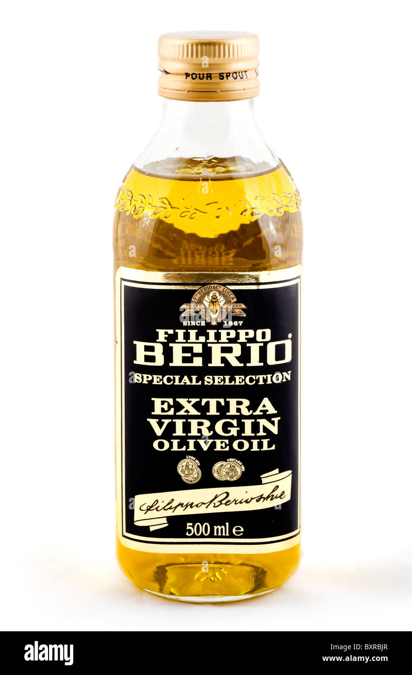 Bottle of Filippo Berio Extra Virgin Olive Oil, UK - Stock Image