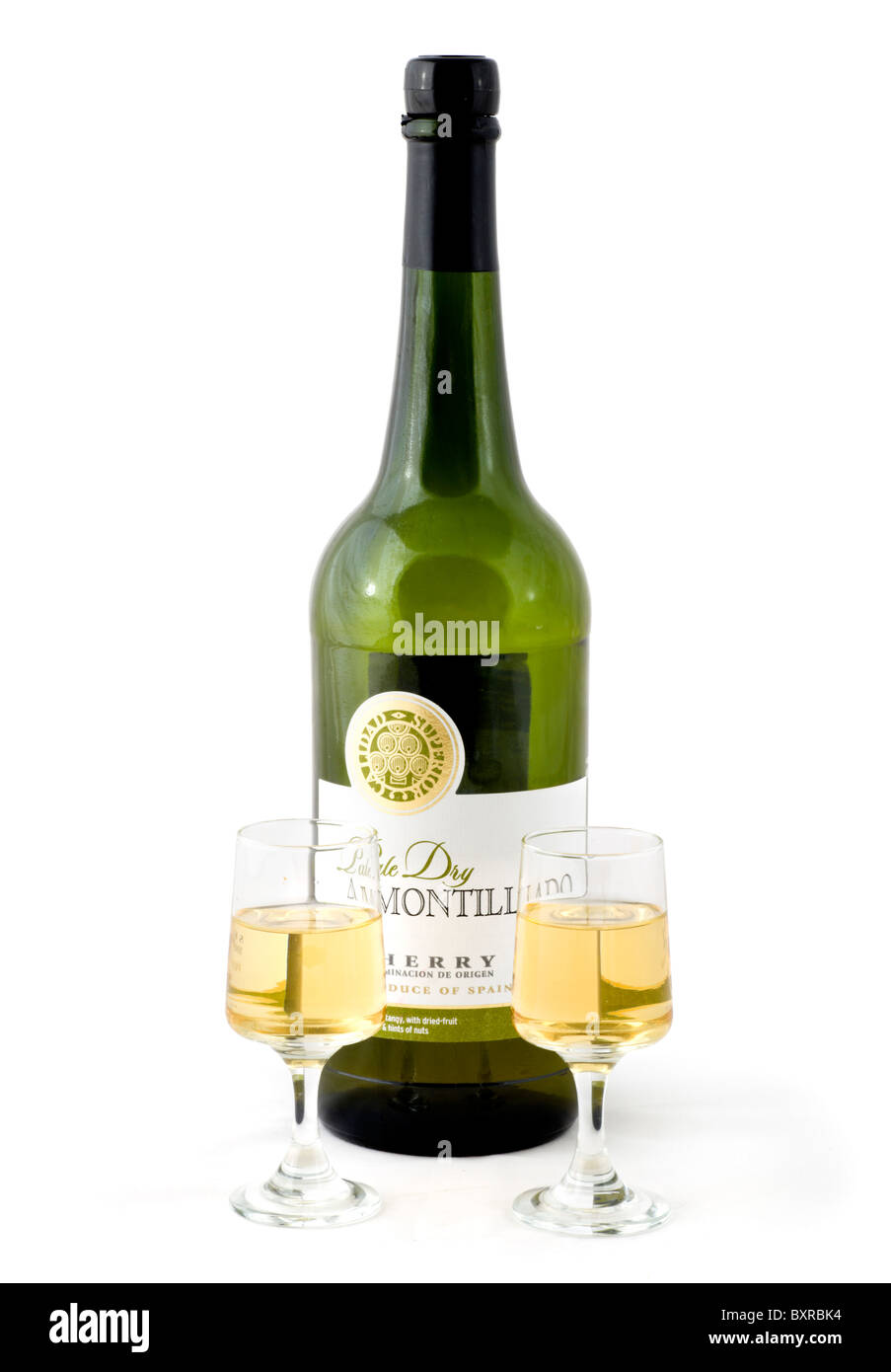 Bottle of Pale Dry Amontillado Sherry and two glasses, UK - Stock Image