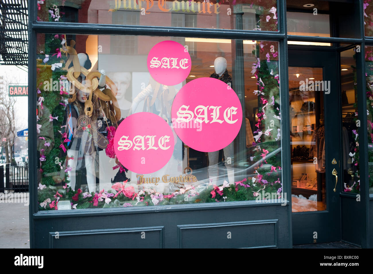 Sales at the Juicy Couture store on Bleecker Street in Greenwich Village in New York - Stock Image