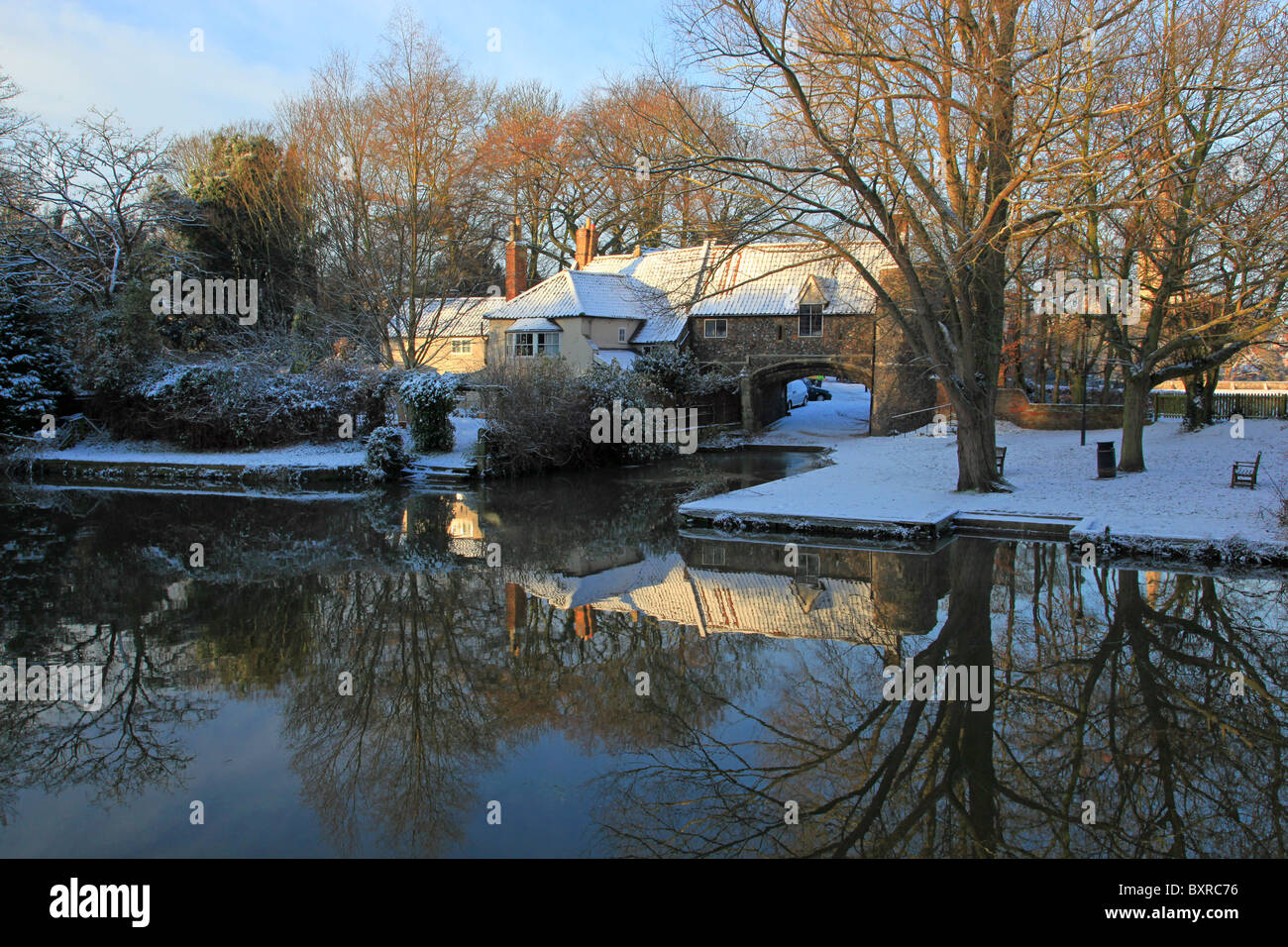 Pulls Ferry Norwich Cathedral Close Norfolk - Stock Image