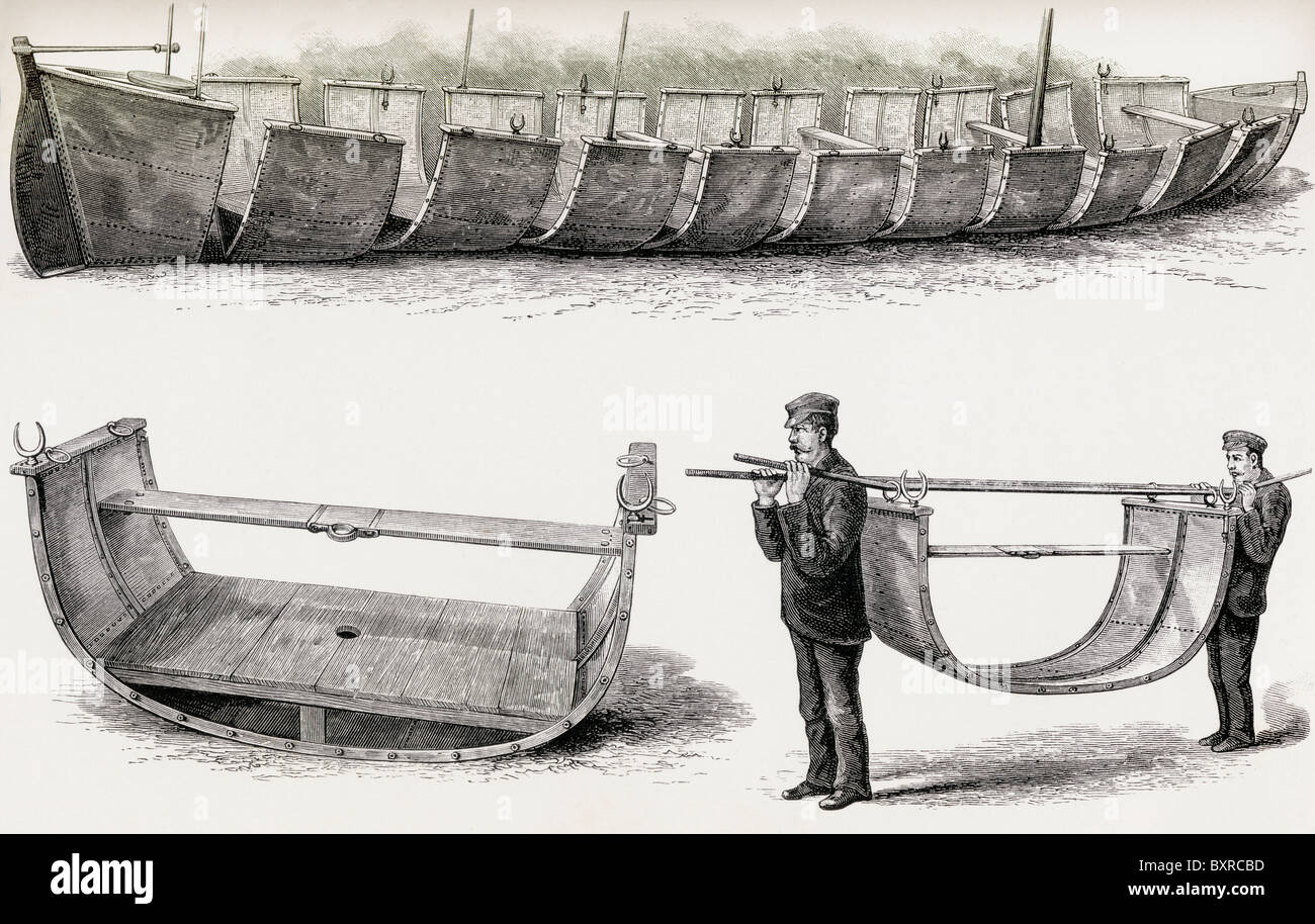 The 28-foot steel boat Advance, designed to be divided into 12 sections for carrying over land used by Stanley in - Stock Image