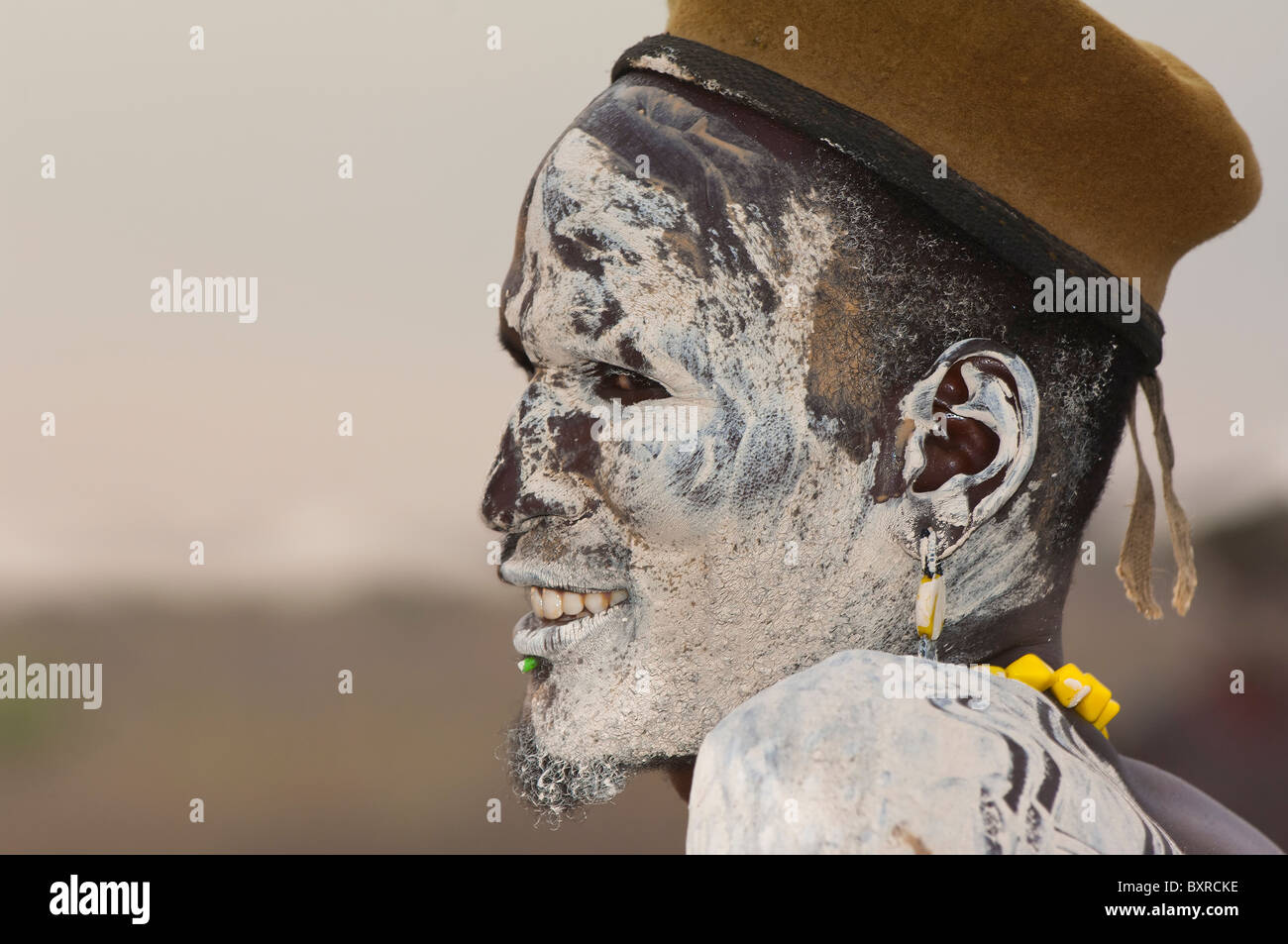 Nyangatom (Bumi) man with painted face, Omo river Valley, Ethiopia Africa Stock Photo