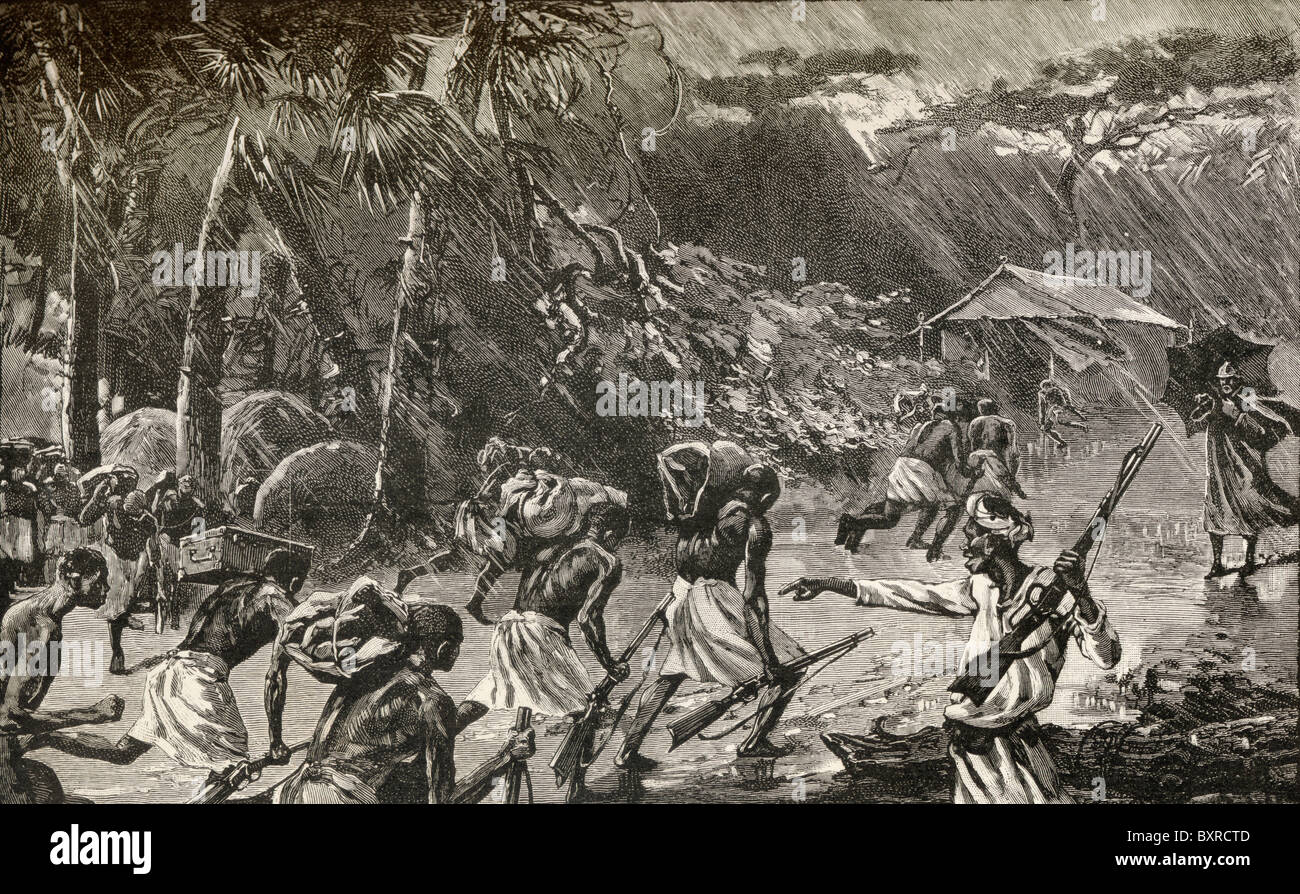 Native porters in Sir Henry Morton Stanley's Emin Pasha Relief Expedition in Africa caught in a thunderstorm - Stock Image