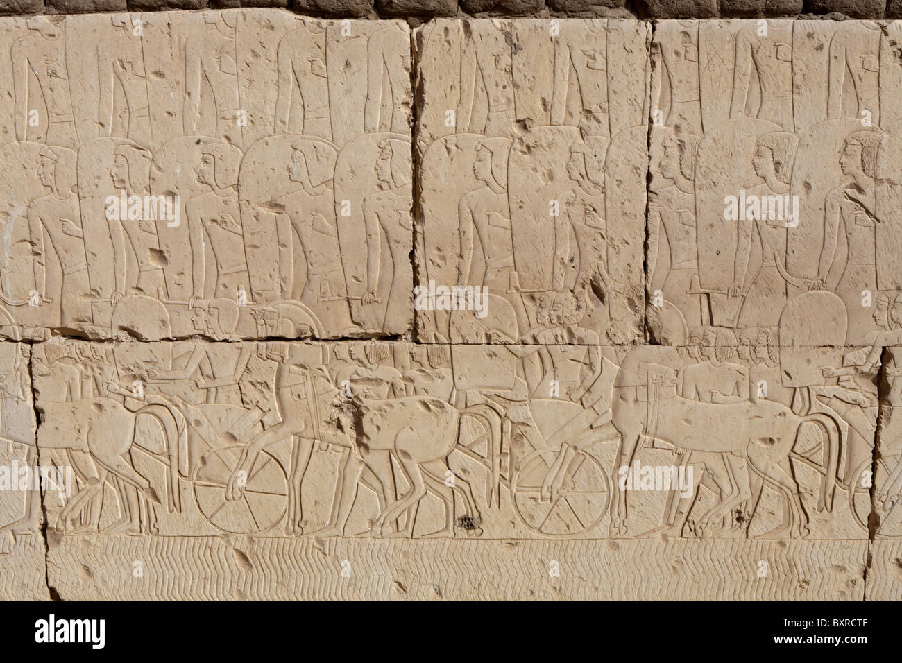 Reliefs of the Battle of Kadesh on the outer walls of the Temple of Ramesses II at Abydos, Nile Valley Egypt - Stock Image
