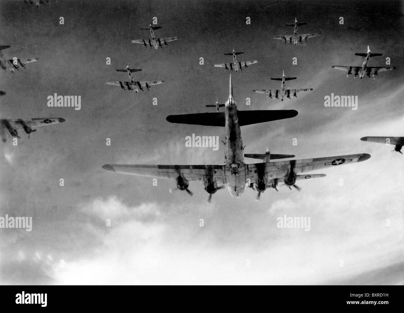 B-17 Flying Fortress bombers during a World War 2 bombing mission. Stock Photo