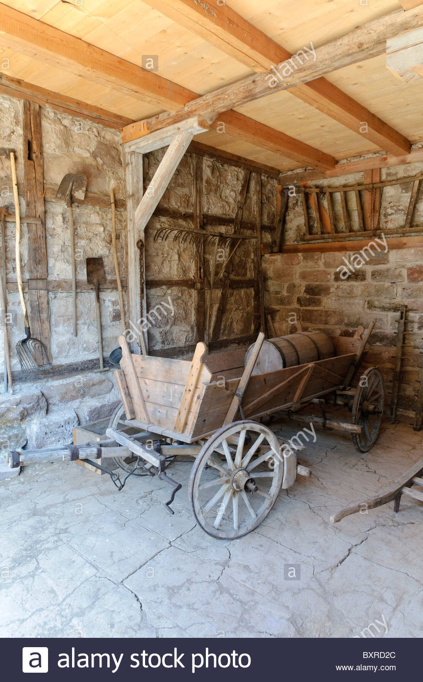 Historic barn, Hohenfelden Thuringian open-air museum, Thuringia, Germany, Europe - Stock Image