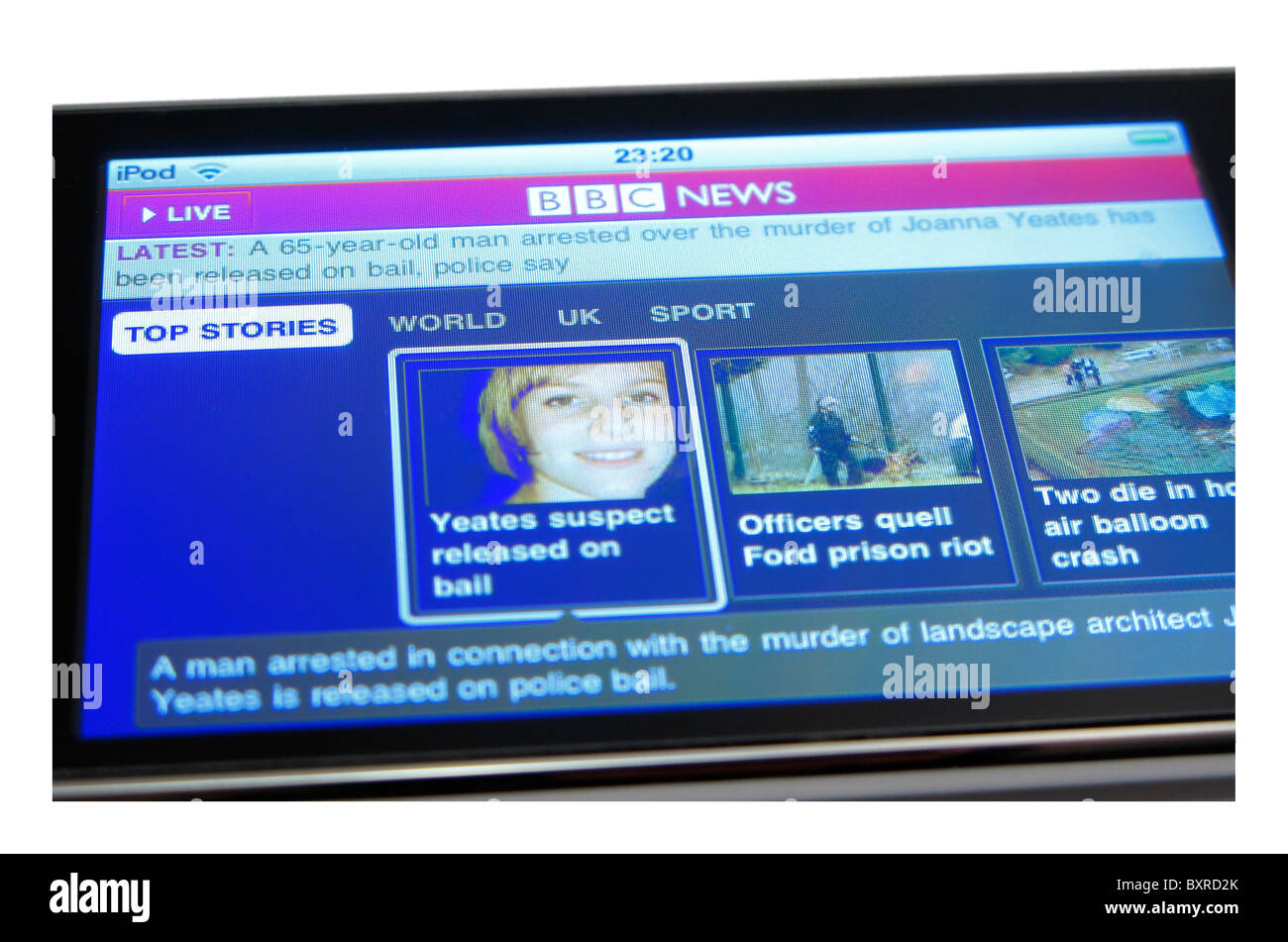 cutout of ipod touch showing bbc news home page Joanna Yeates murder enquiry - Stock Image
