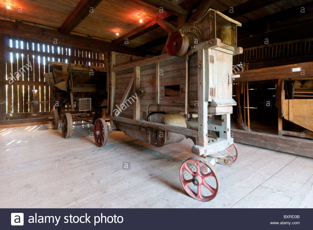 Exhibition at the Blockscheune barn, Hohenfelden Thuringian open-air museum, Thuringia, Germany, Europe - Stock Image