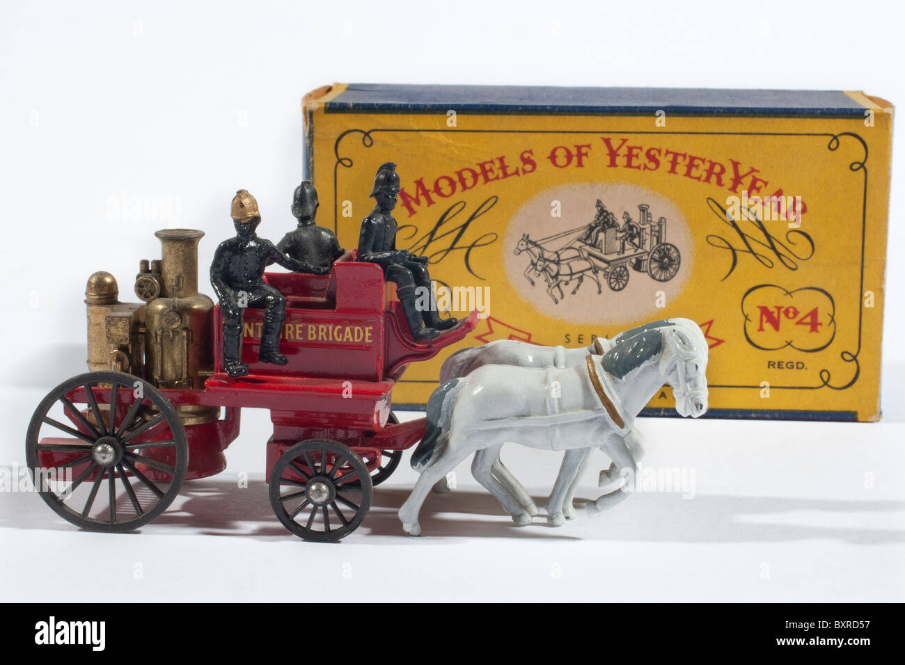Models of Yesteryear 1905 Shand Mason Horse Drawn Fire Engine Issued by Lesney 1960 - Stock Image