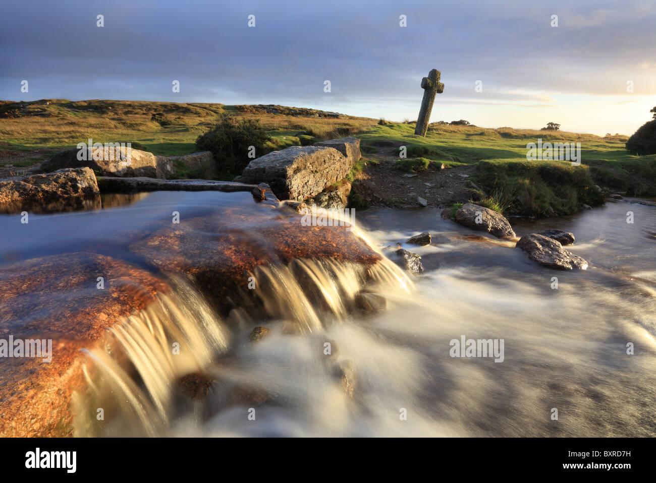 Windy Post Celtic Cross on Dartmoor captured in late evening light - Stock Image