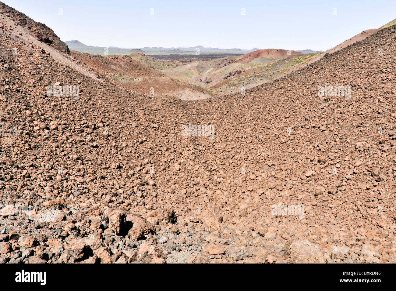 Large field of volcanic bombs, ejected magma which cooled while falling, El Pinacate Biosphere Reserve, Sonora, - Stock Image