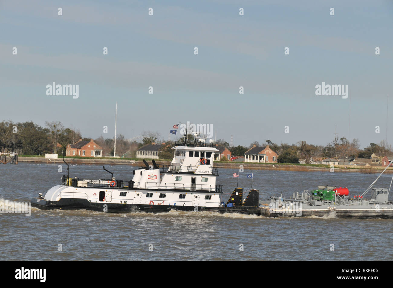tug pushing barge mississippi river new orleans louisiana stock photo 33707302 alamy. Black Bedroom Furniture Sets. Home Design Ideas