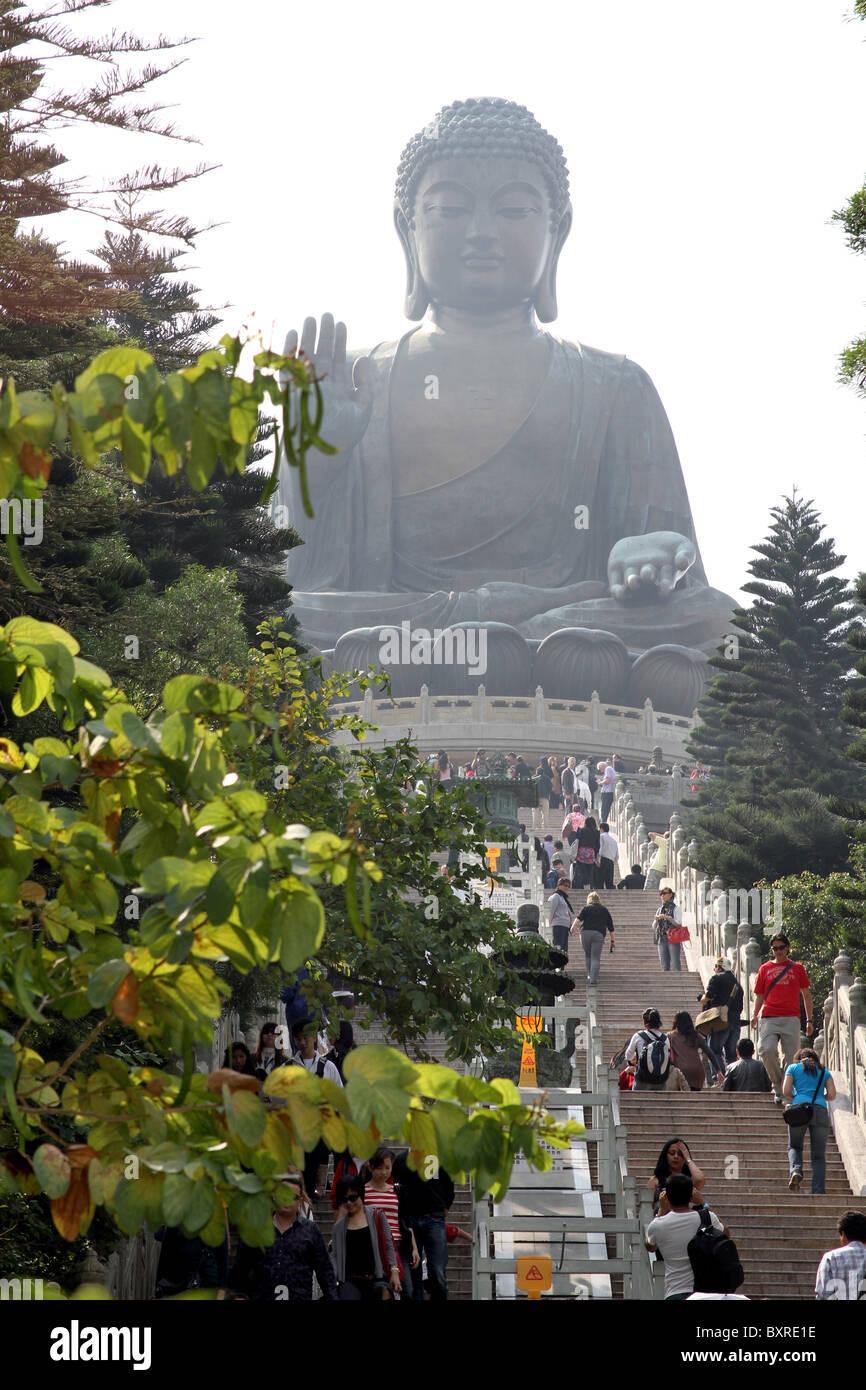 The Tian Tan Big Buddha statue on Lantau Island in Hong Kong, China - Stock Image