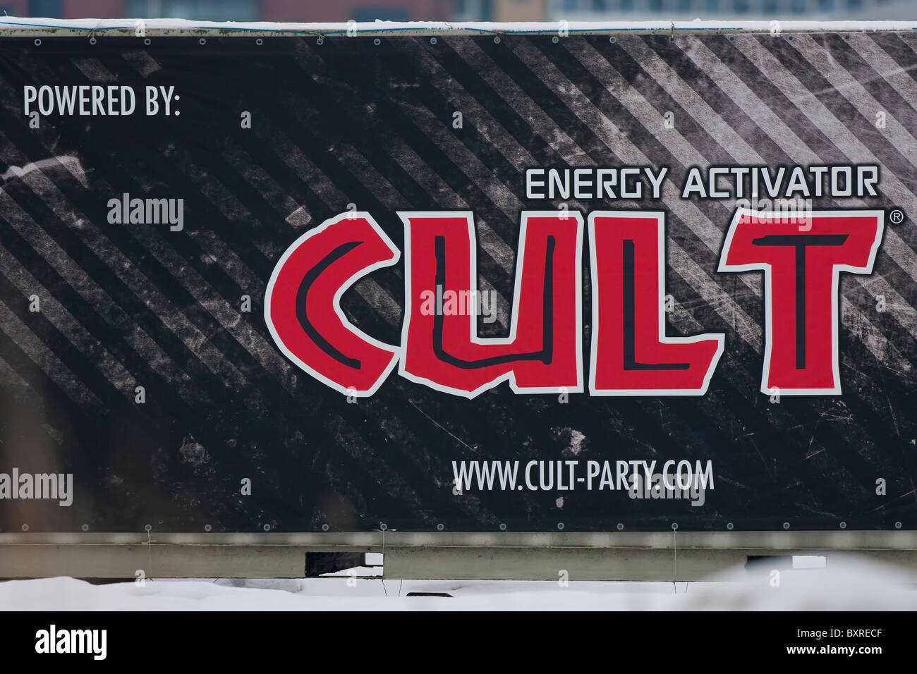 Giant billboard advertise for energy activator - Stock Image