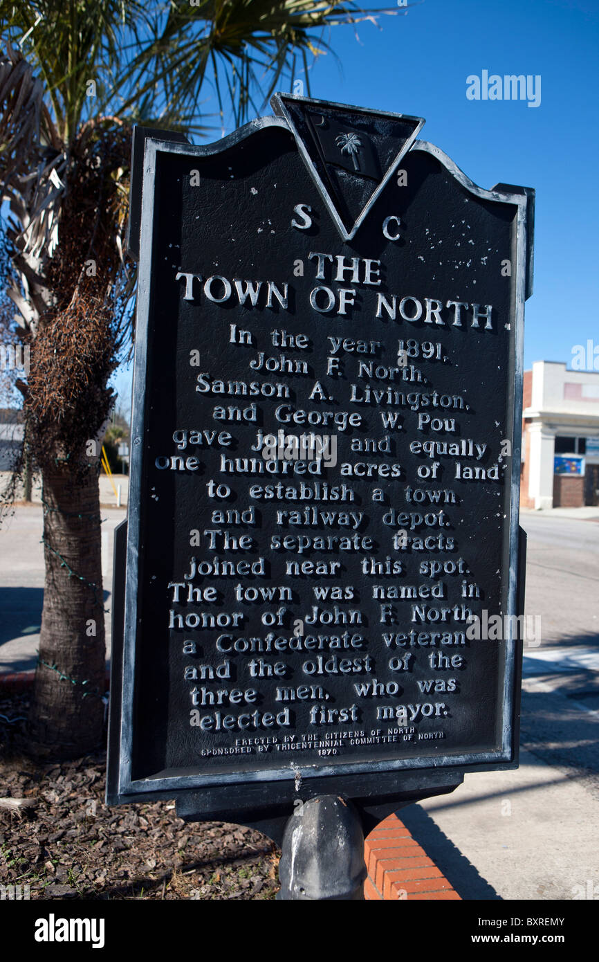 THE TOWN OF NORTH In the year 1891, John F. North, Samson A. Livingston, and George W. Pou - Stock Image
