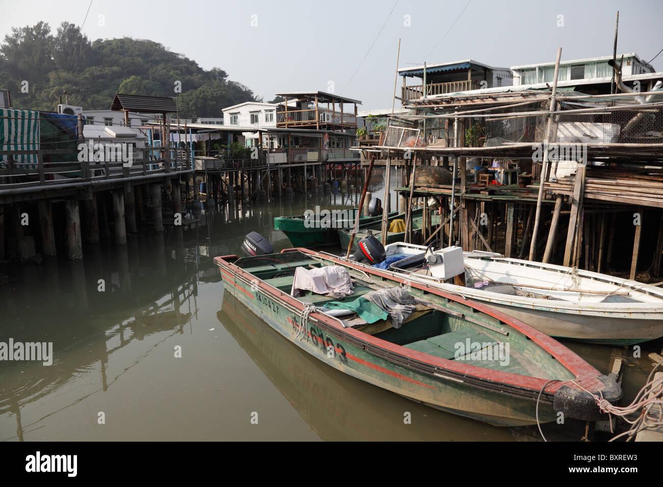 Fishing village Tai O at Lantau island in Hong Kong - Stock Image