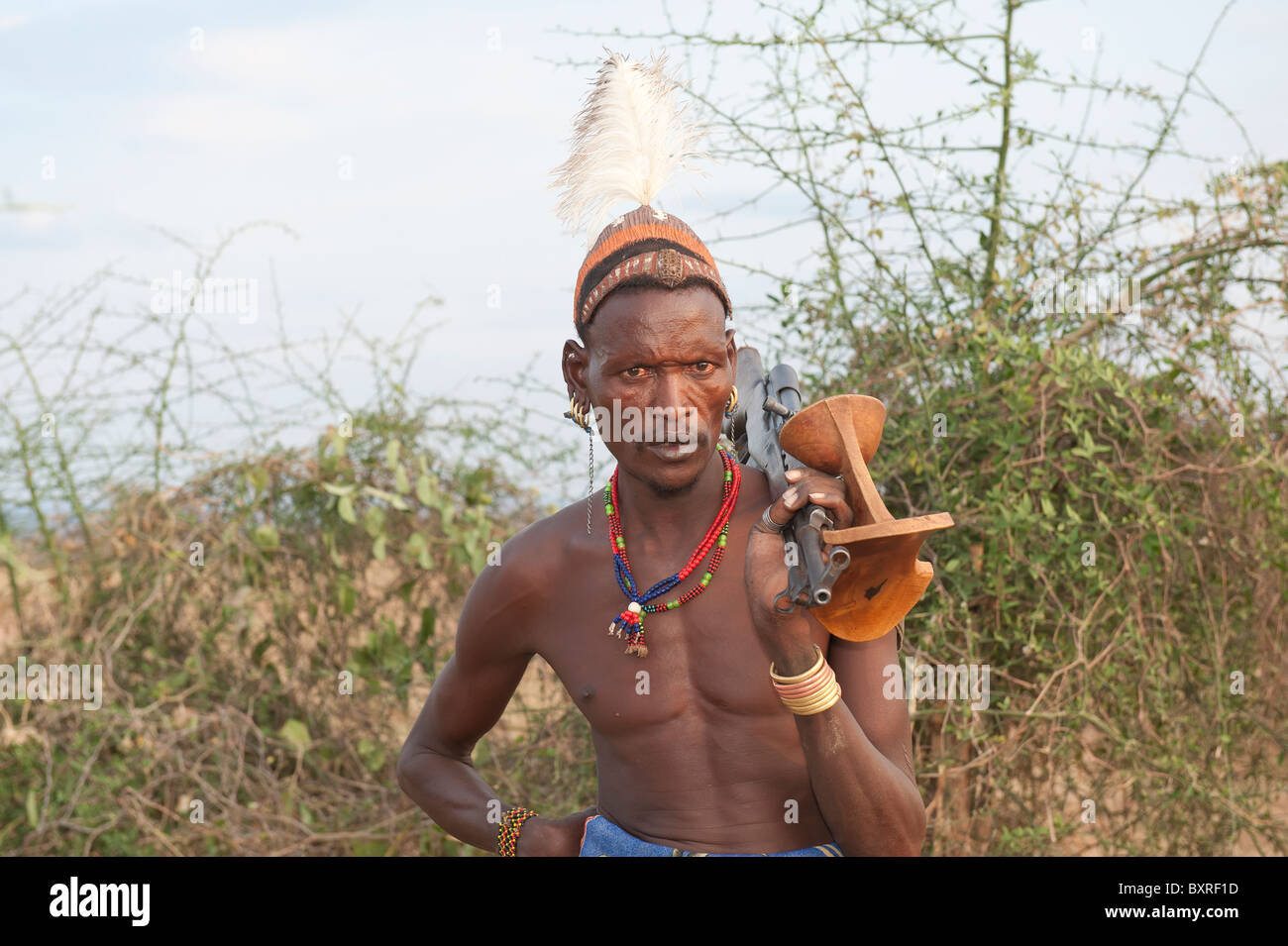 Hamar warrior Omo river valley, Southern Ethiopia Africa - Stock Image