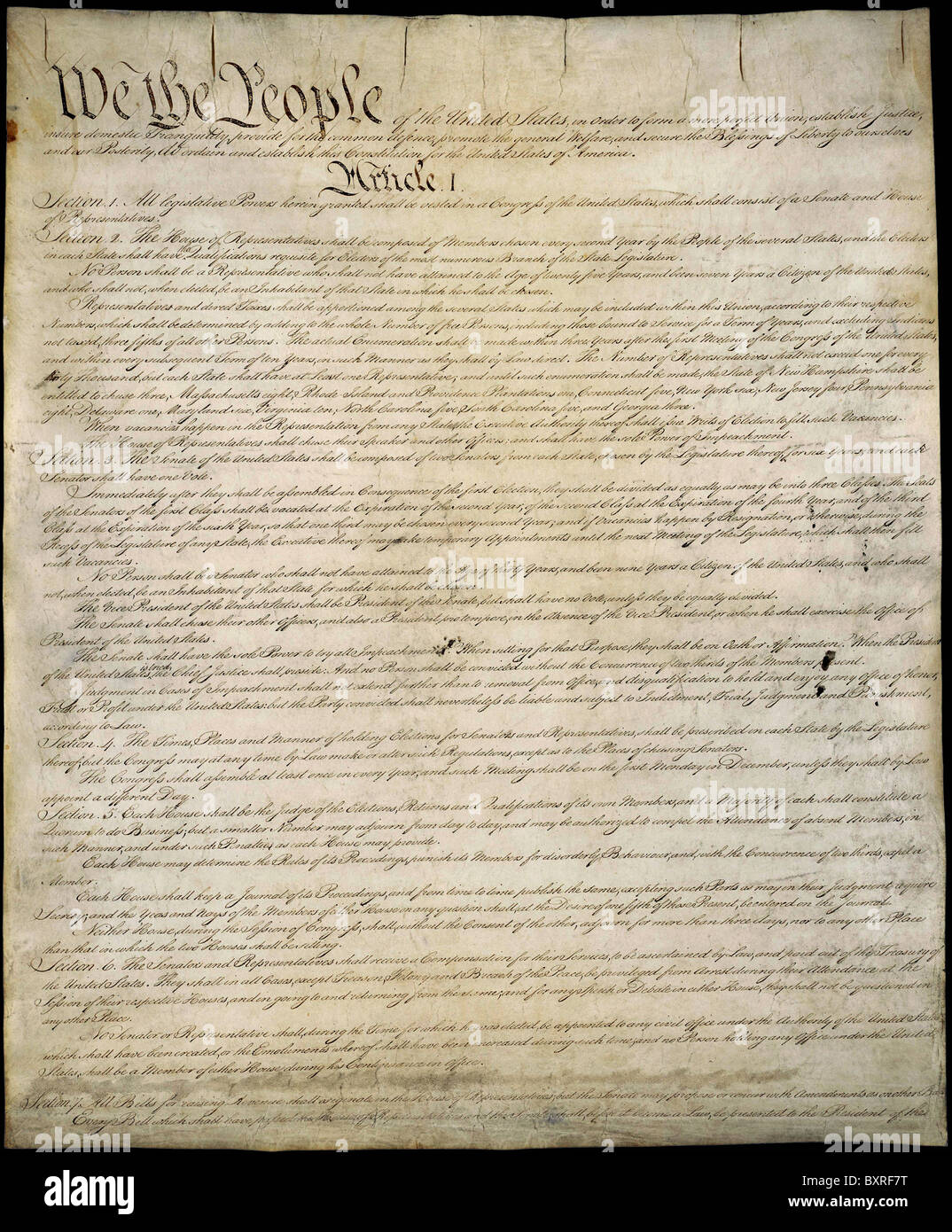 Copy of the U.S. Constitution. - Stock Image
