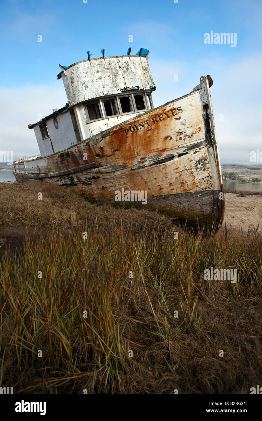 Abandoned shipwreck of the Point Reyes along the shore of Tomales Bay, near Point Reyes National Seashore, California - Stock Image