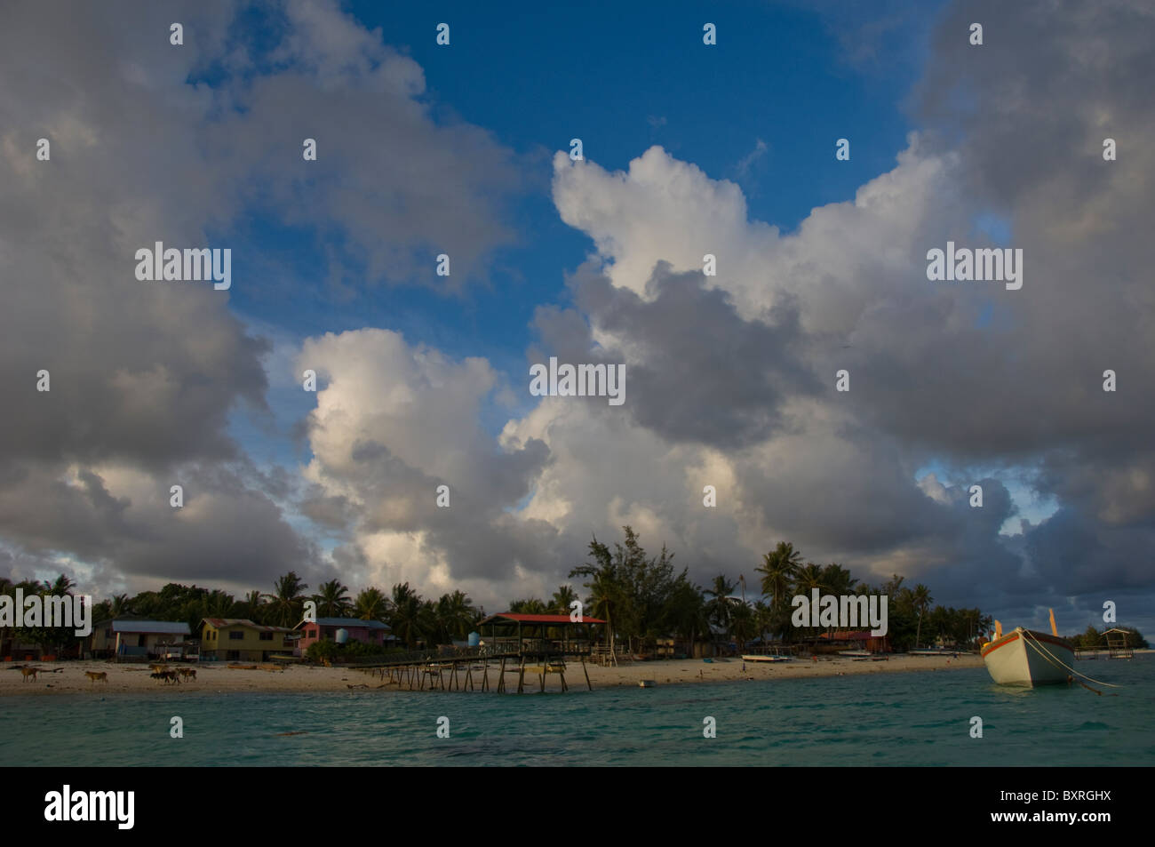 Small village, view from boat, Island of Mantanani, South China Sea, East Malaysia. - Stock Image