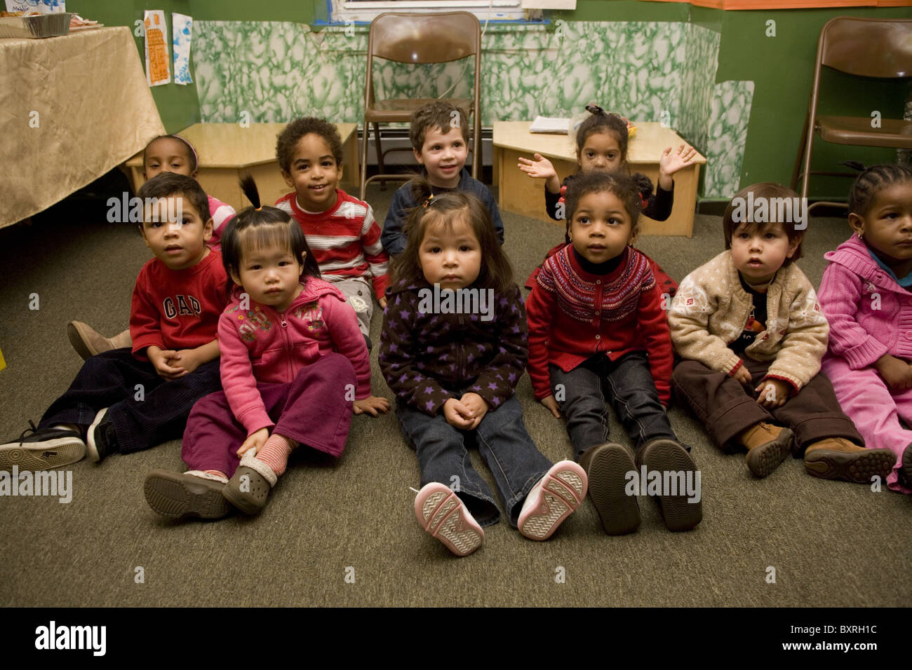 Nursery school and Pre-K program in the highly multicultural Kensington neighborhood in Brooklyn, New York. - Stock Image