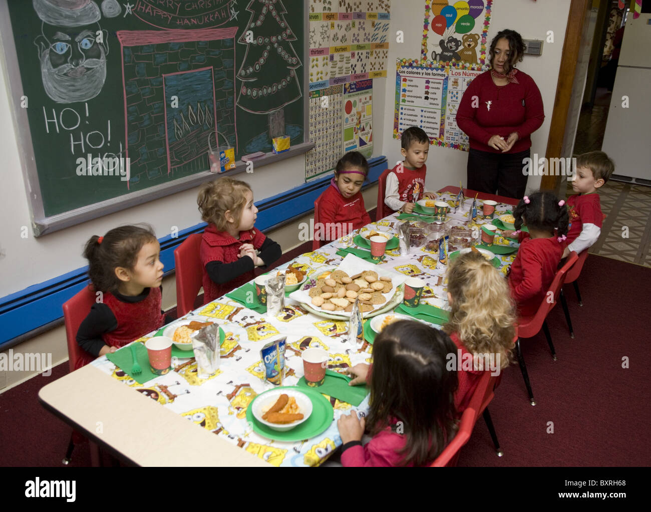 Nursery school and Pre-K program in the highly multicultural Kensington neighborhood in Brooklyn, New York. Christmas - Stock Image