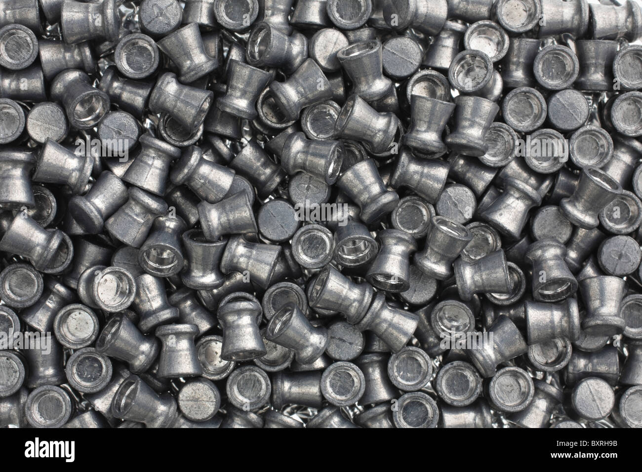 close-up view of large pile of lead BB pellets - Stock Image