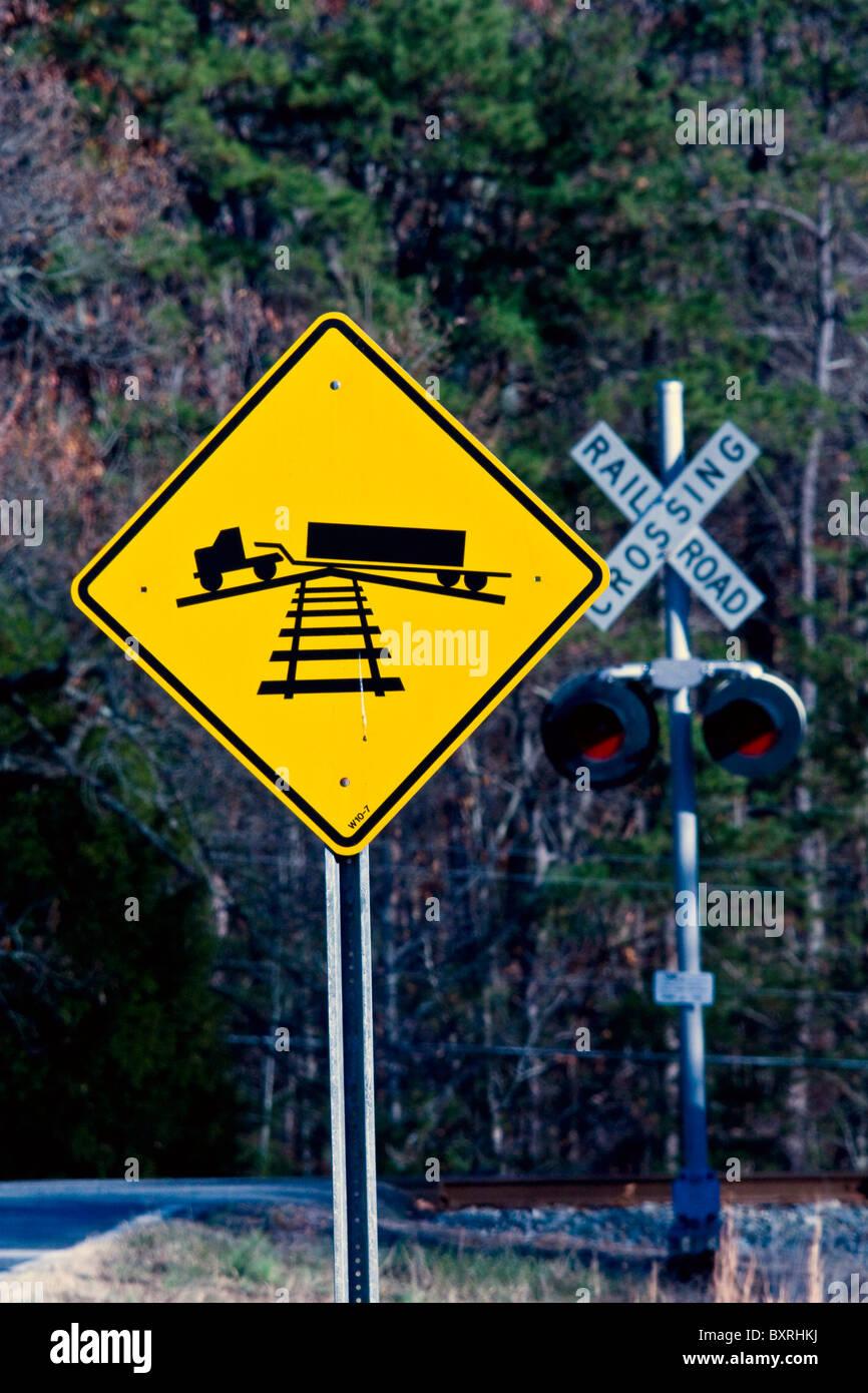 Hump Railroad Crossing Sign - Stock Image