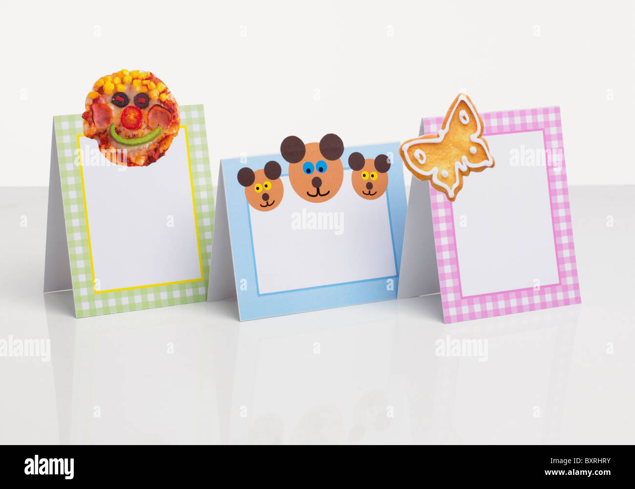 childrens blank party invitation cards close up stock photo