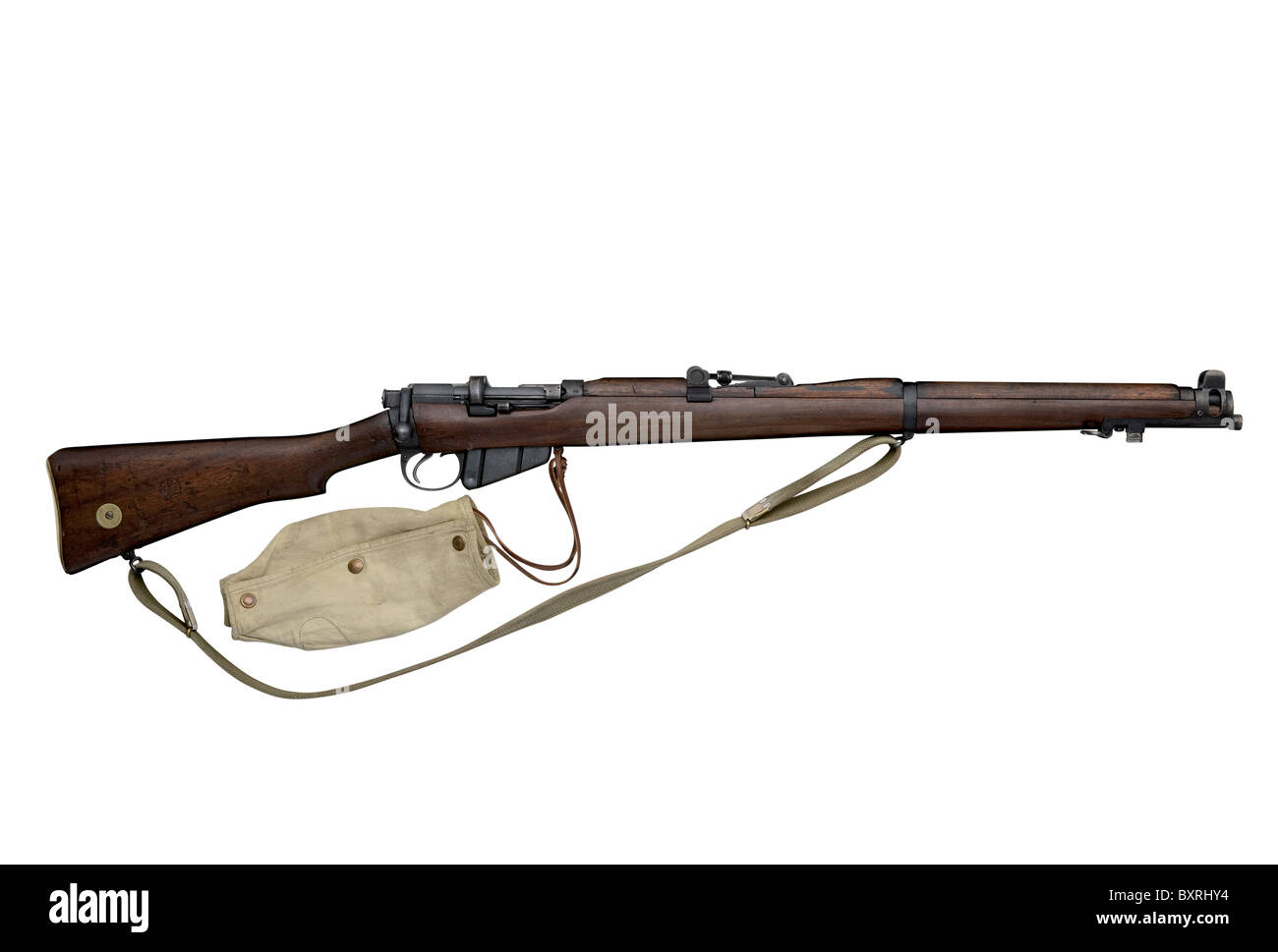 Lee Enfield rifle with canvas cover attached, as carried by British infantrymen during world war one - Stock Image