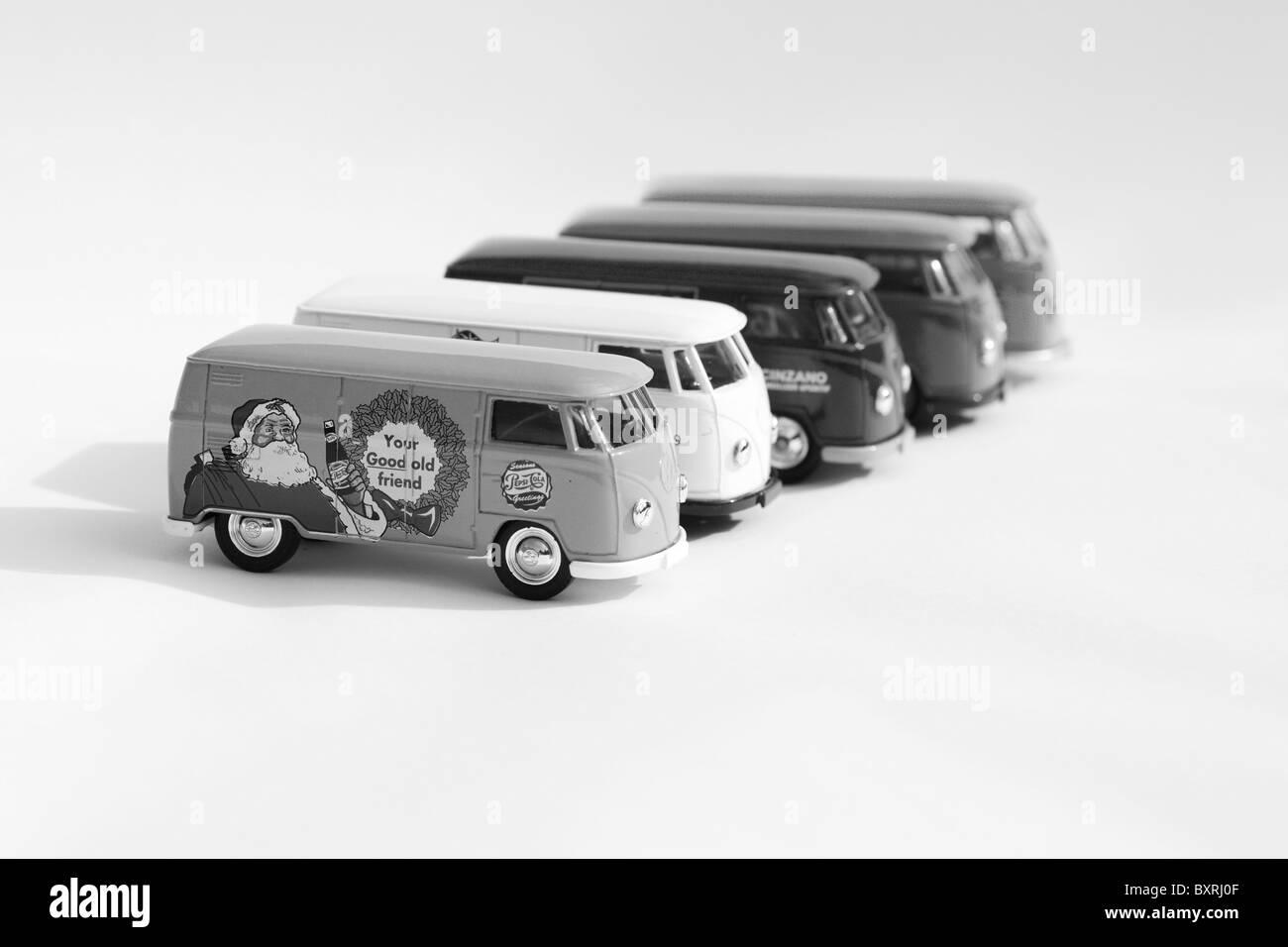 Children's collectible toy models of  Volkswagen split screen panel vans Black and White Stock Photo