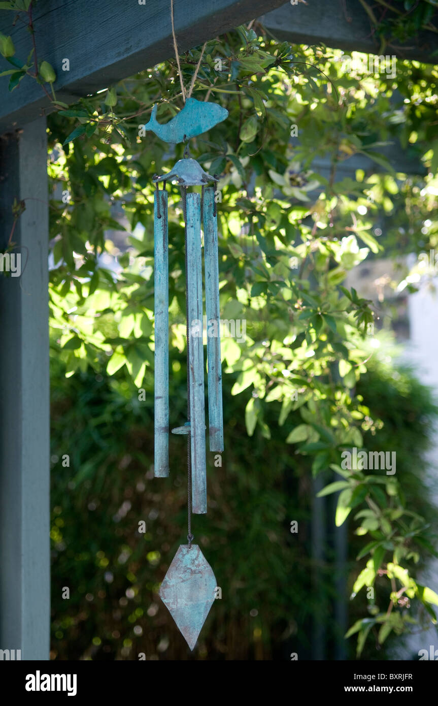 Wind Chime hanging, close-up - Stock Image
