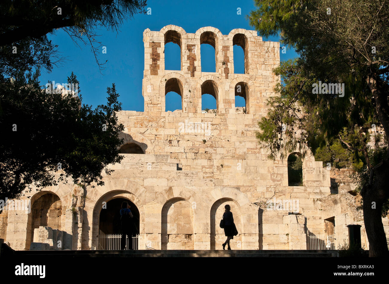 Odeon of Herodes Atticus, on the southern slopes of the Acropolis, Athens, Greece - Stock Image