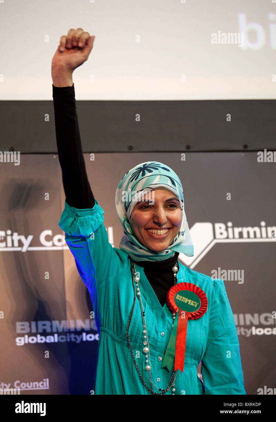 Salma Yaqoob, pictured during the elections is a councillor for Birmingham, Sparkbrook and the leader of the Respect - Stock Image