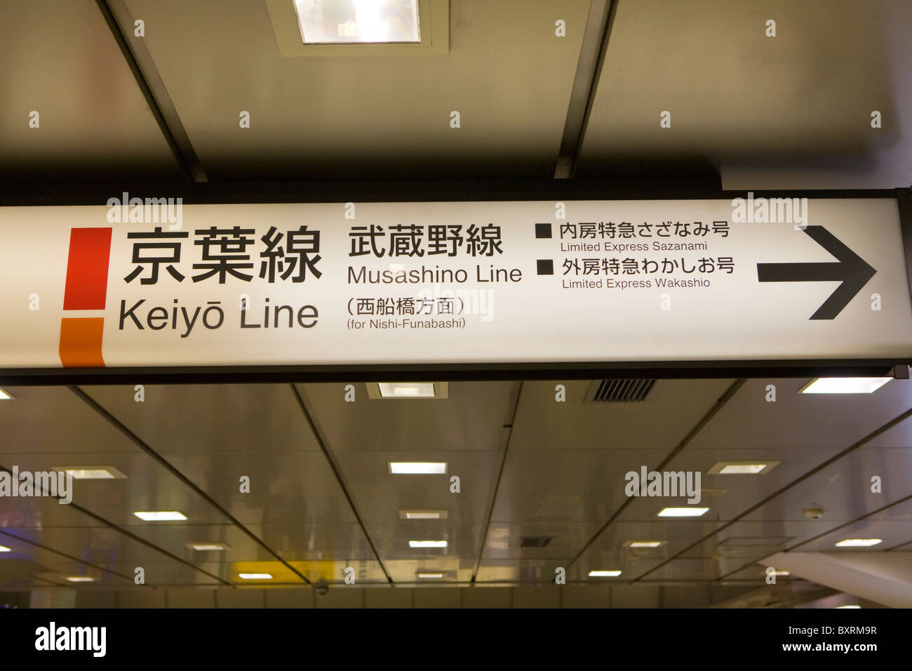 Asia, Japan, Tokyo, Ueno Station, Sign of train lines before entering the platform - Stock Image