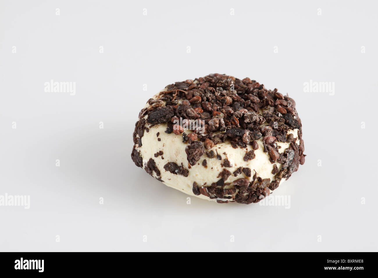 Disc of French Aromes au Gene de Marc cow's milk cheese covered with dried pressed grapes Stock Photo