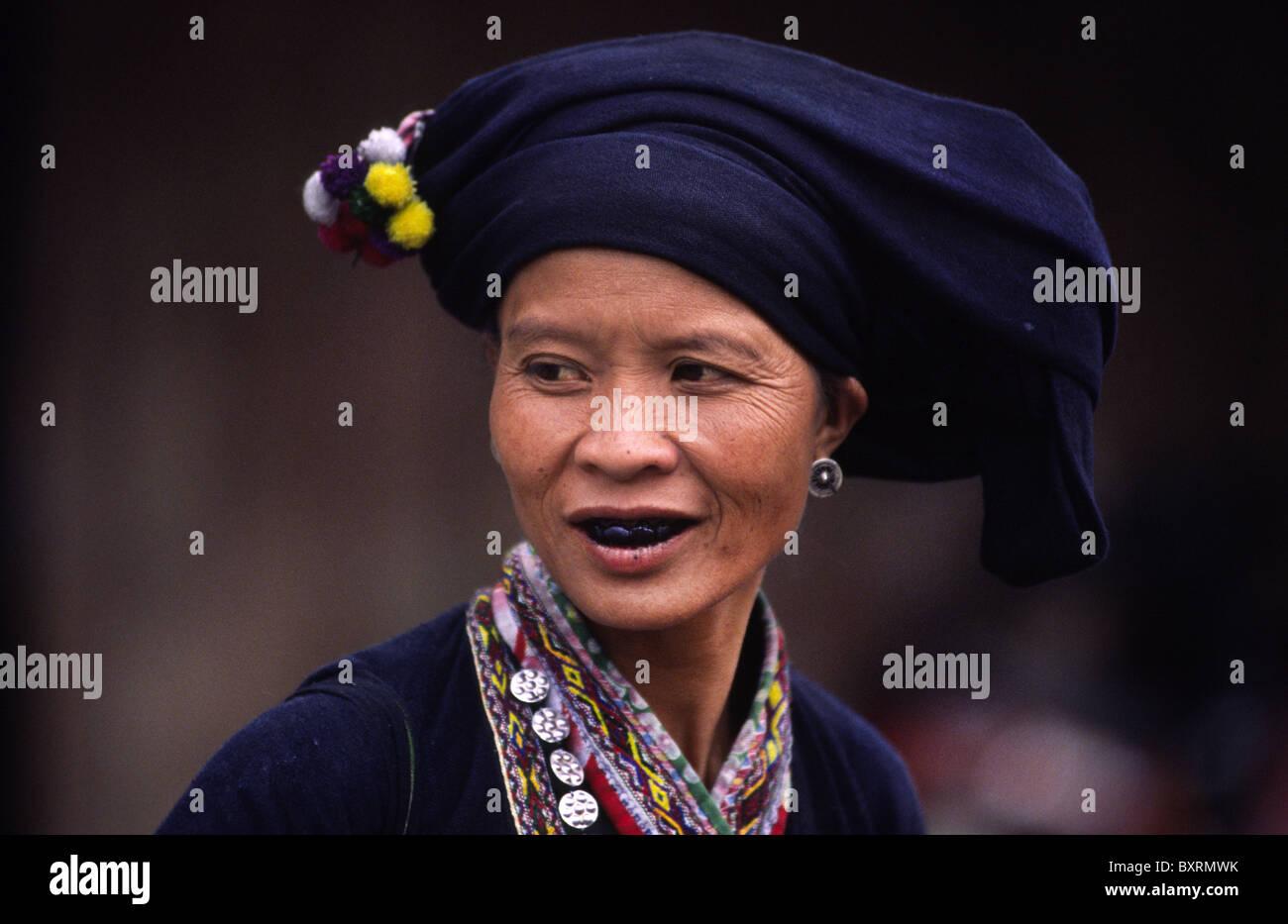 Lu minority woman with traditional blackened teeth. Binh Lu, Lai Chau Province, Northern Vietnam. Stock Photo