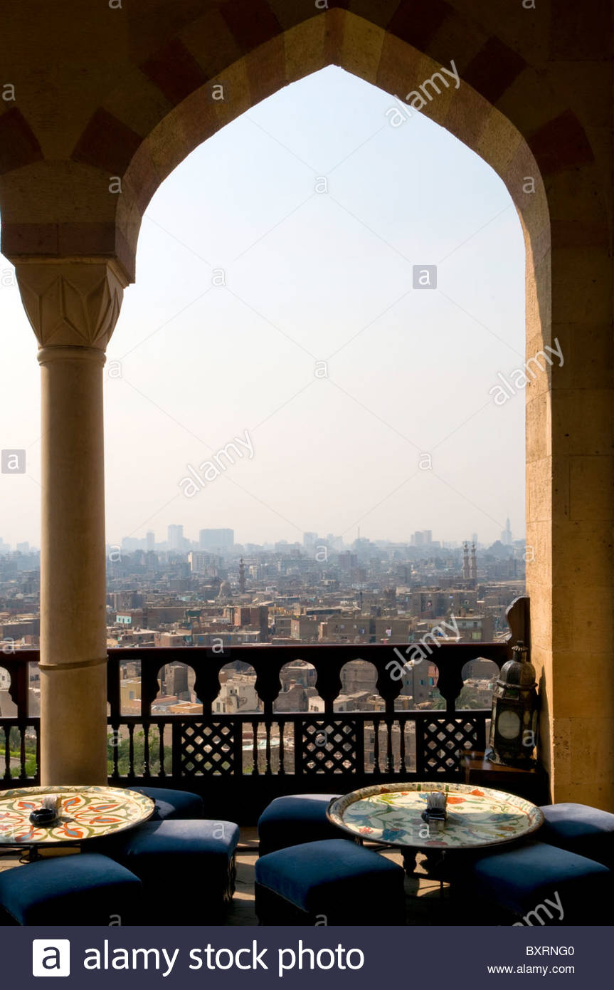 Egypt, Old Cairo, The Hilltop restaurant at Al Azhar Park - Stock Image