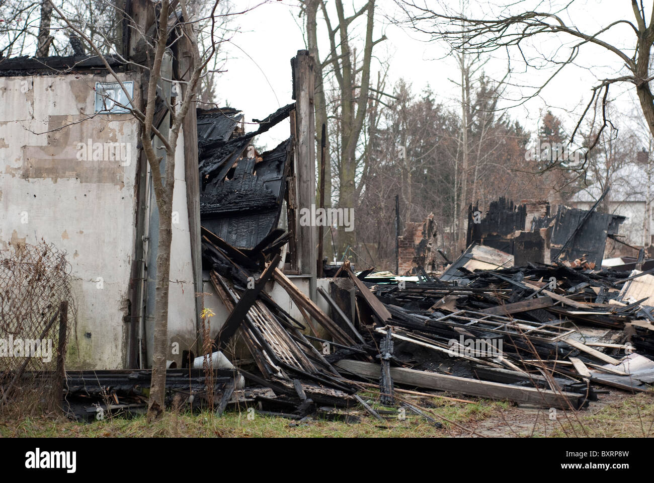 Burnt house - Stock Image