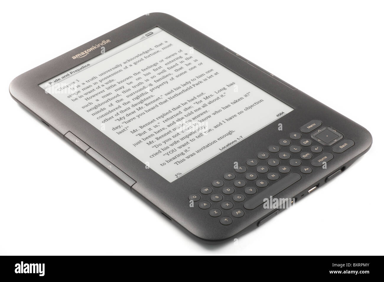 Amazon Kindle 3 Ebook 2010/2011 showing pages of Pride and Prejudice - Editorial Use Only - Stock Image