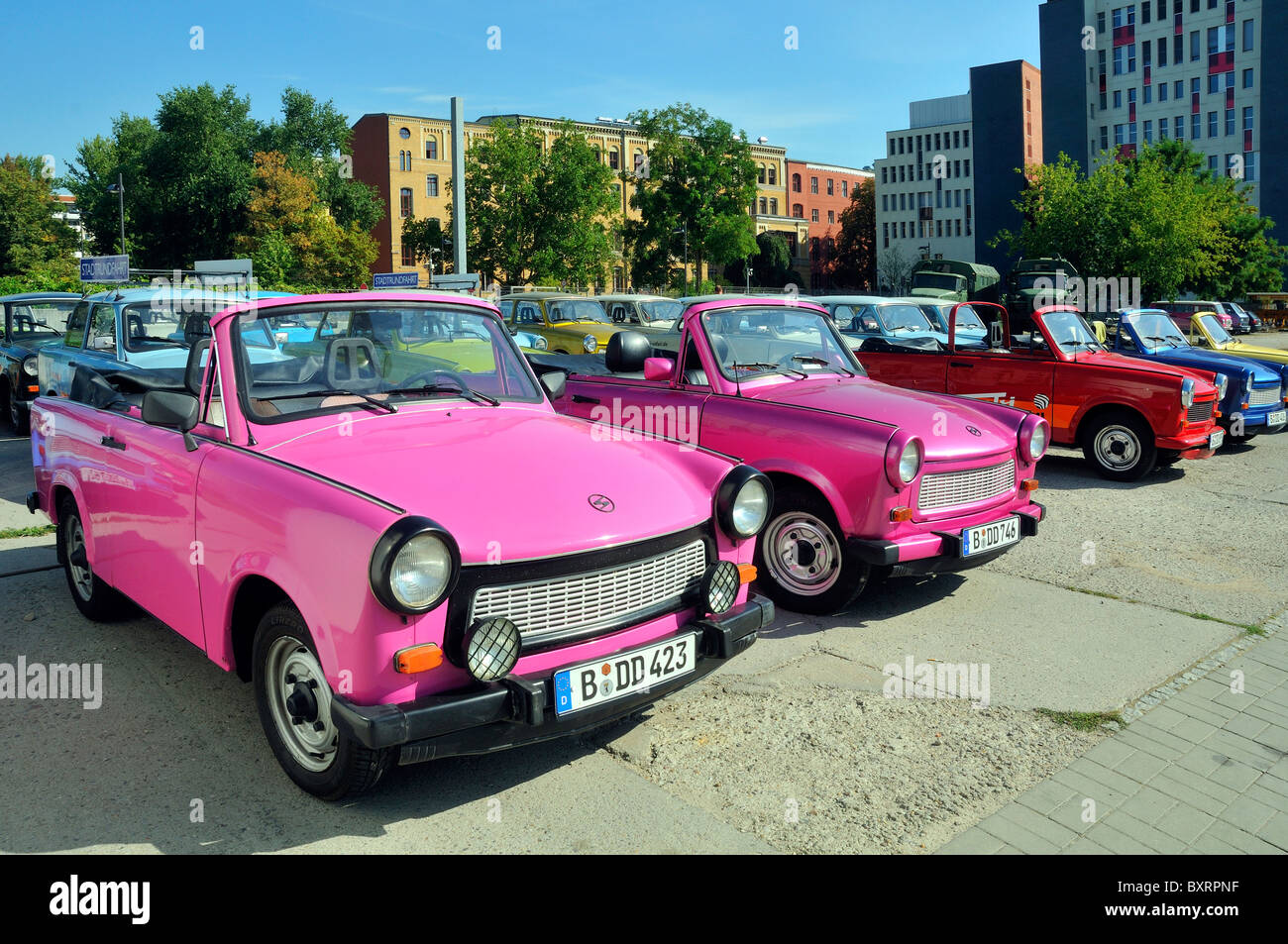 Trabant typical DDR car, Berlin, Germany, Europe - Stock Image