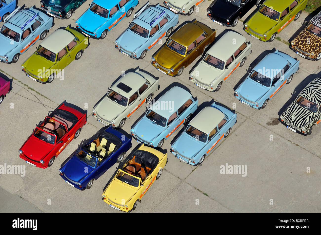 Trabant typical DDR car from the balloon, Berlin, Germany, Europe - Stock Image