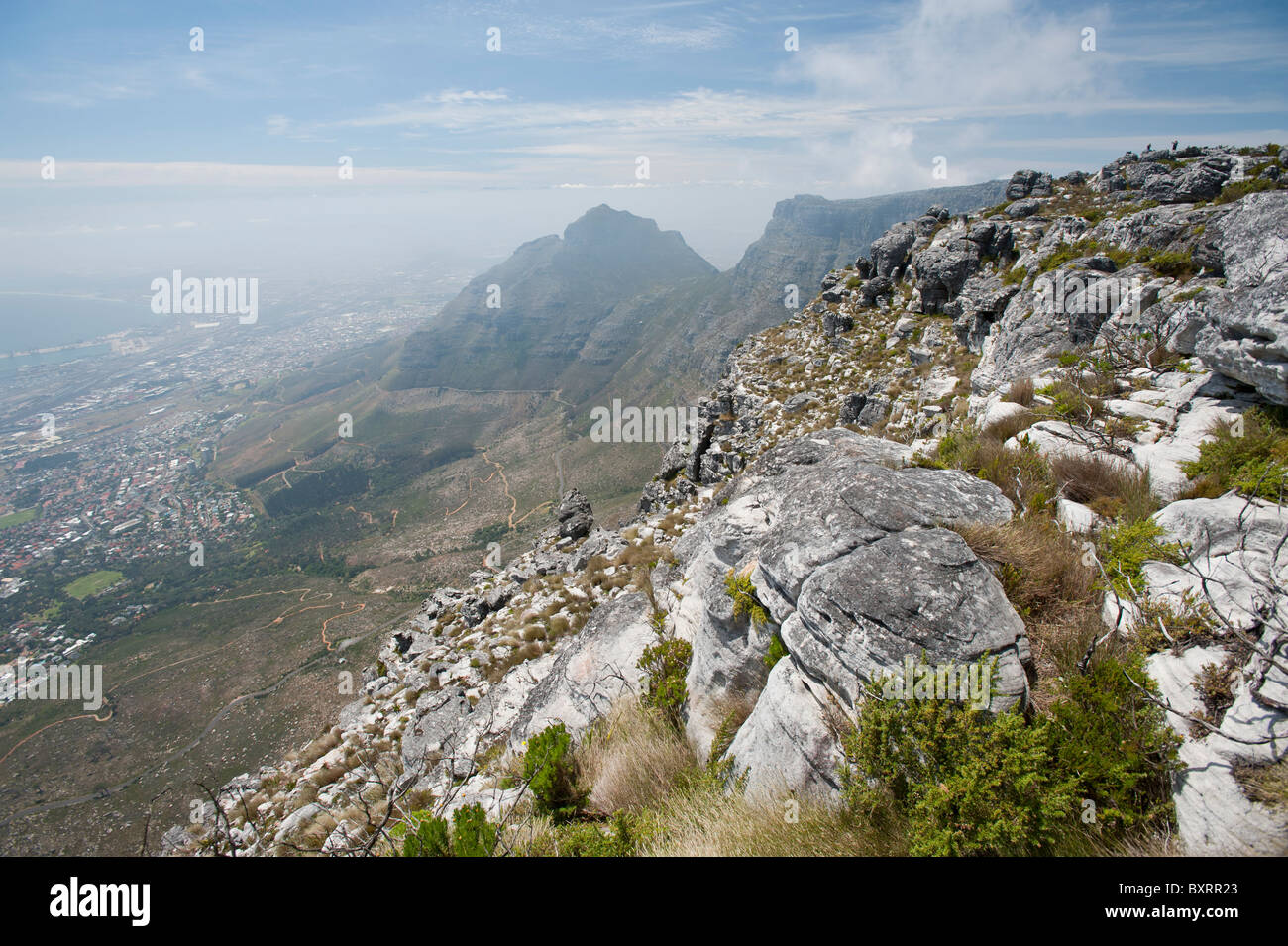 View of Table Mountain from the top looking towards Devil's Peak. - Stock Image