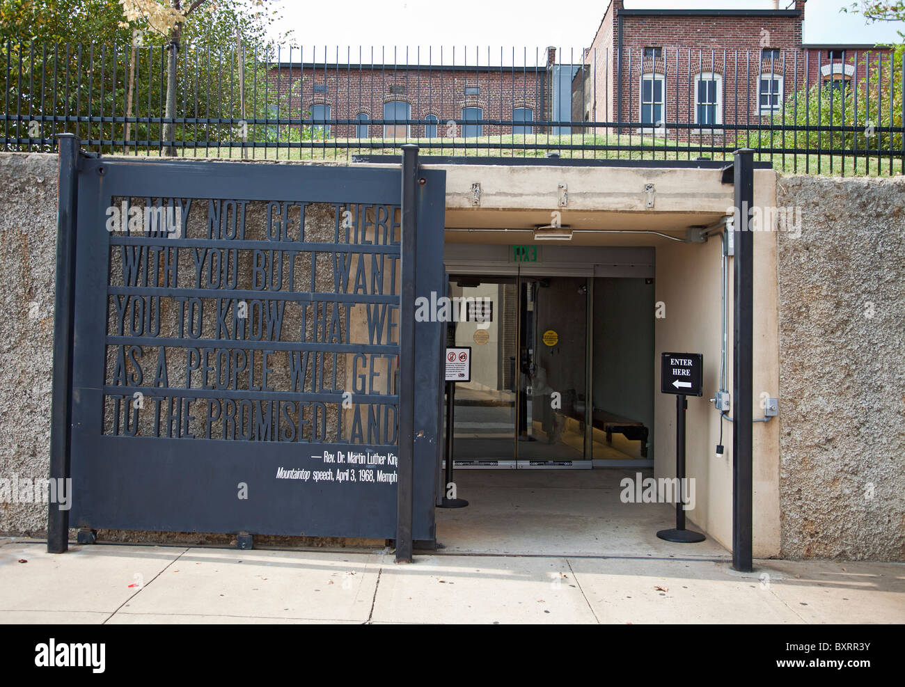 Entrance -extension of the National Civil Rights Centre in Memphis Tennessee with MLK's 'I may not get there with you' speech Stock Photo
