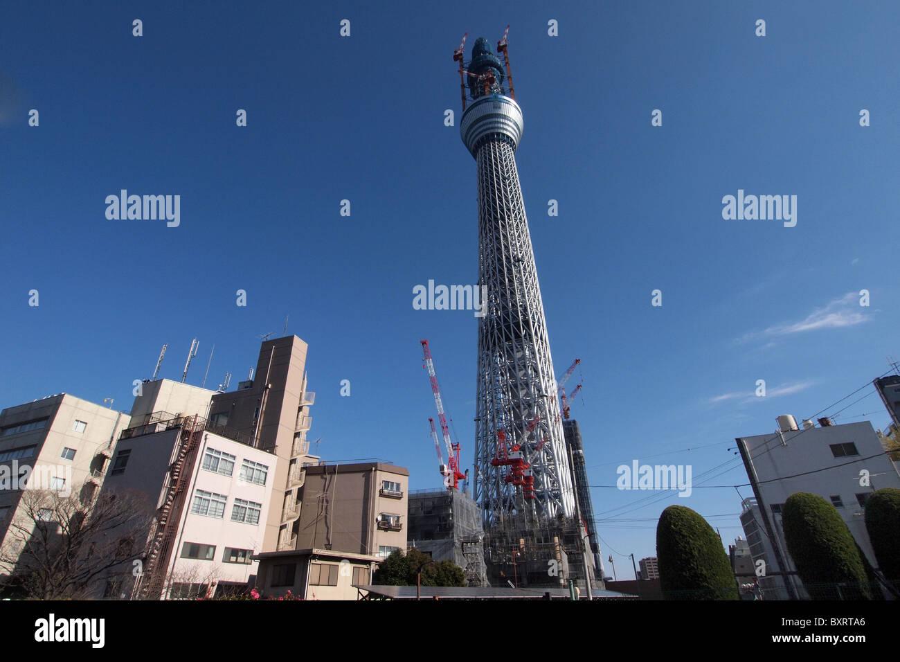 Tokyo Sky Tree under construction in December 2010 Japan Stock Photo