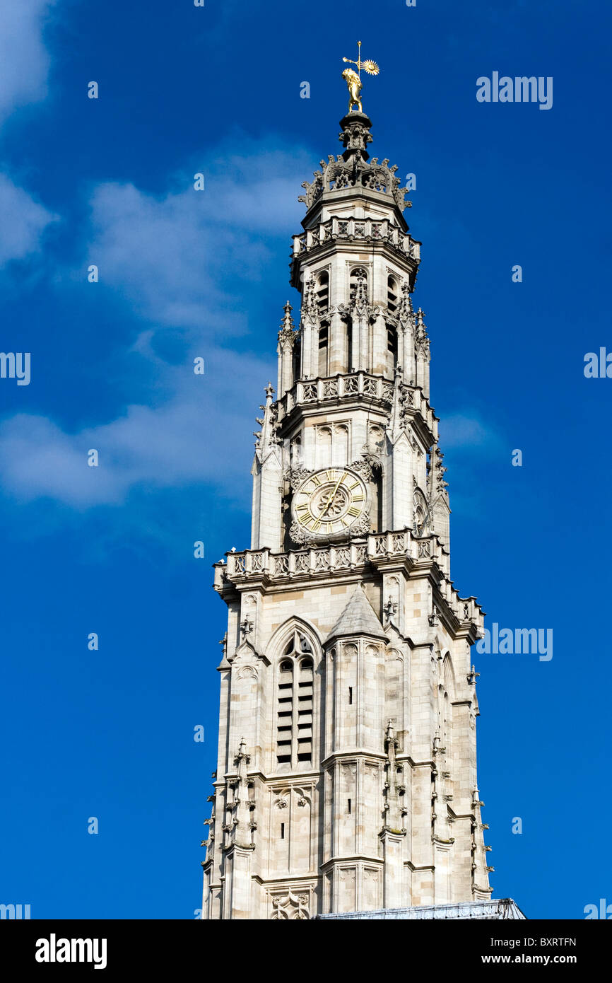 France, Nord Pas de Calais, Arras, View of belfry with sky in background - Stock Image