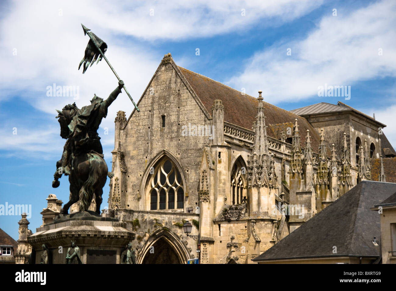France, Normandie, Pays d'Auge, Falaise's Church and William the Conqueror's Statue Stock Photo