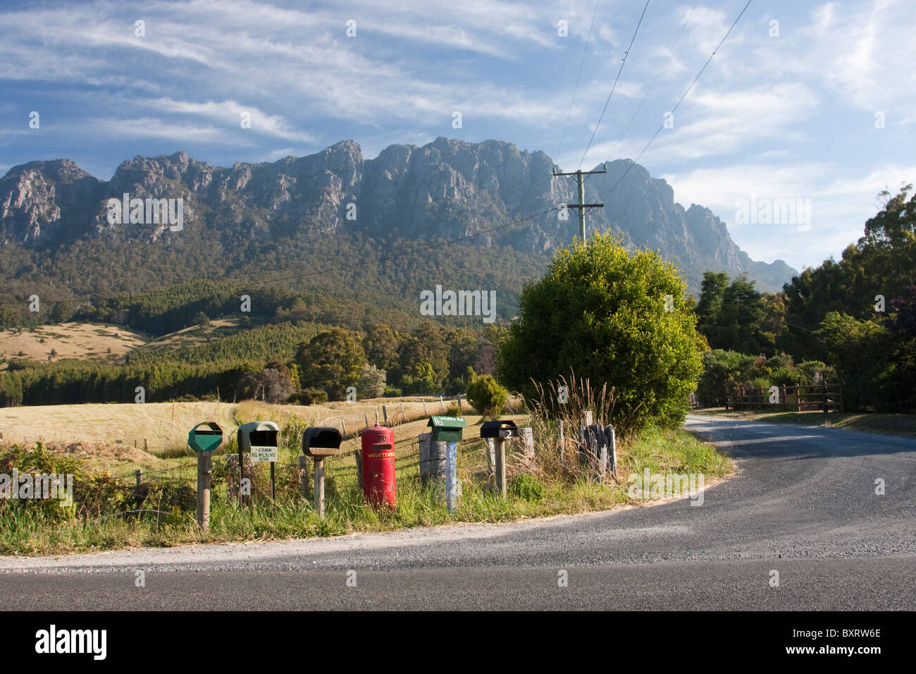 Australia, Tasmania, Central north, Mount Roland, View of postboxes along roadside - Stock Image