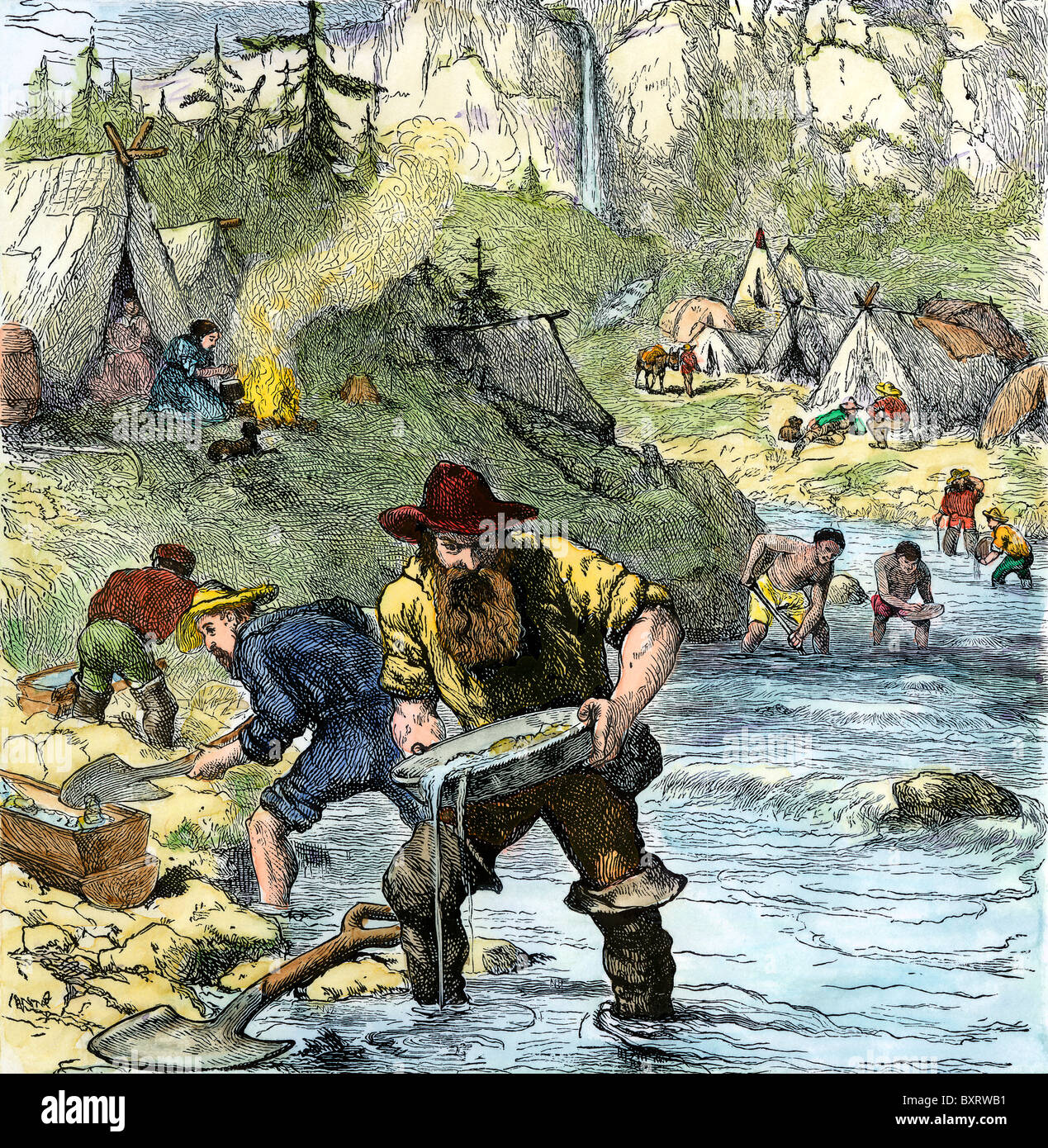Prospectors panning for gold in the California Gold Rush. Hand-colored woodcut - Stock Image